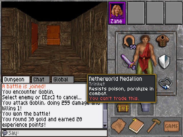 A player explores their 20 slot bag using the new-to-MedievaLands inventory interface.
